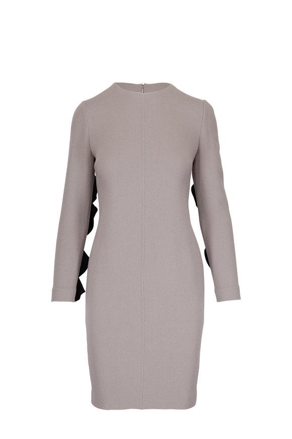 Olivine Gabbro Taupe Wool Black Ruffle Detail Long Sleeve Dress