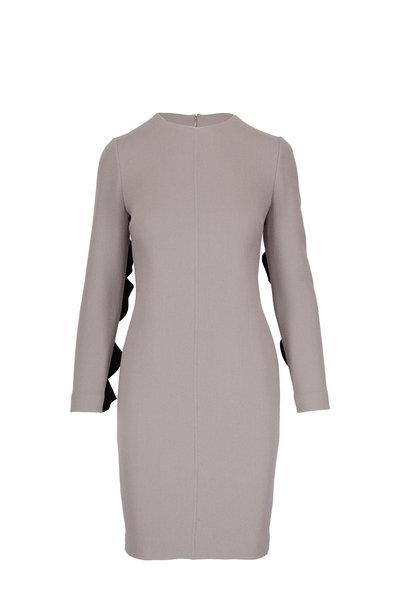 Olivine Gabbro - Taupe Wool Black Ruffle Detail Long Sleeve Dress