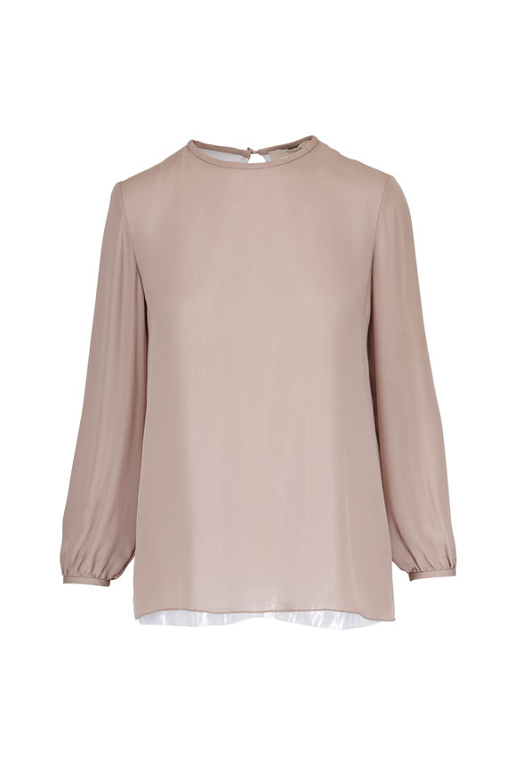 Olivine Gabbro Taupe Silk Plain Front Blouse