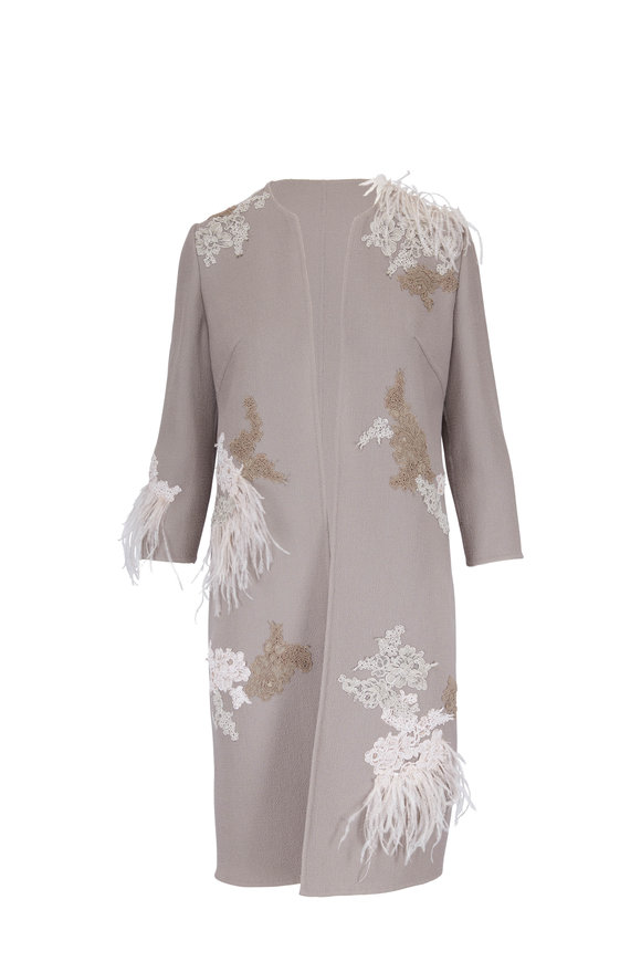 Olivine Gabbro Taupe Wool Lace & Feather Detail Coat