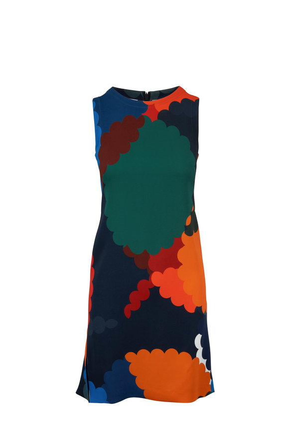 Akris Punto Malt Multicolor Bold Print Sleeveless Shift Dress