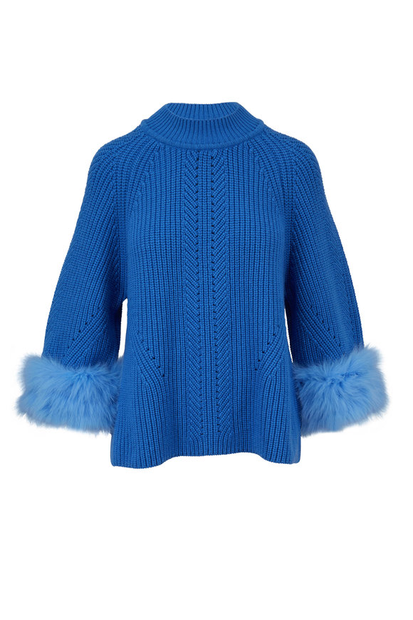 Fendi Cerulean Blue Ribbed Cashmere Fox Trim Sweater