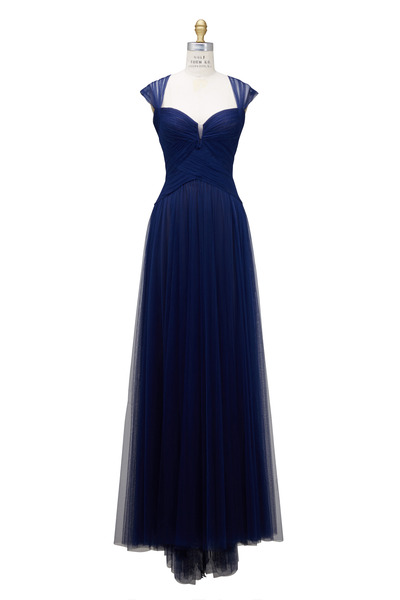 Monique Lhuillier - Royal Blue Tulle Open Back Gown