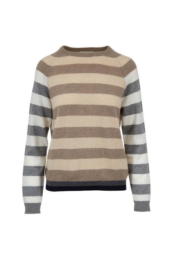 Jumper 1234 Cream & Brown Bold-Striped Cashmere Sweater