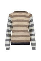 Jumper 1234 - Cream & Brown Bold-Striped Cashmere Sweater