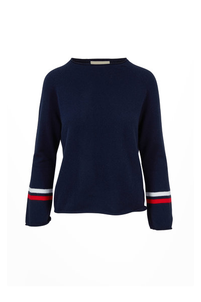 Jumper 1234 - Navy Cashmere Striped-Cuff Sweater