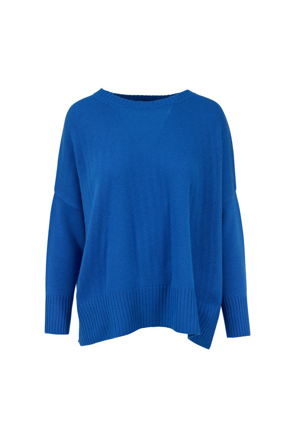 Jumper 1234 Blue Cashmere Split Hem Sweater