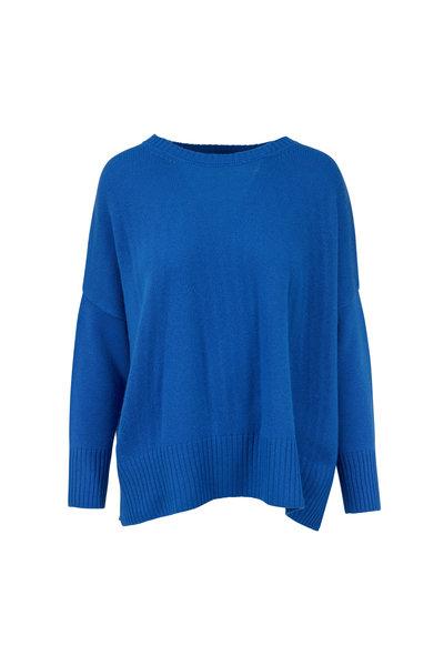 Jumper 1234 - Blue Cashmere Split Hem Sweater