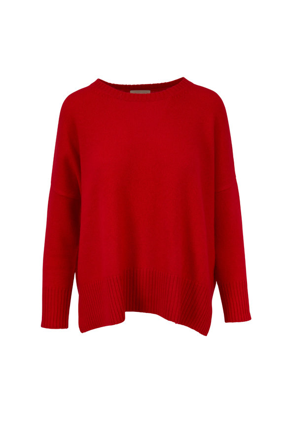 Jumper 1234 Red Cashmere Split Hem Sweater