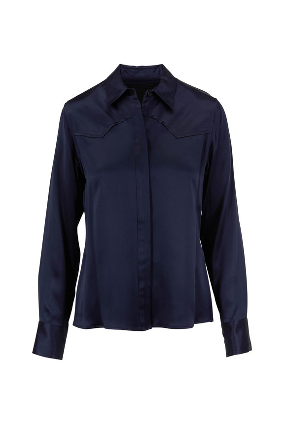 Nili Lotan Mica Dark Navy Silk Shirt