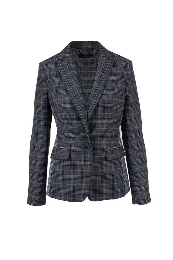 Rag & Bone Lexington Dark Gray & Blue Check Blazer