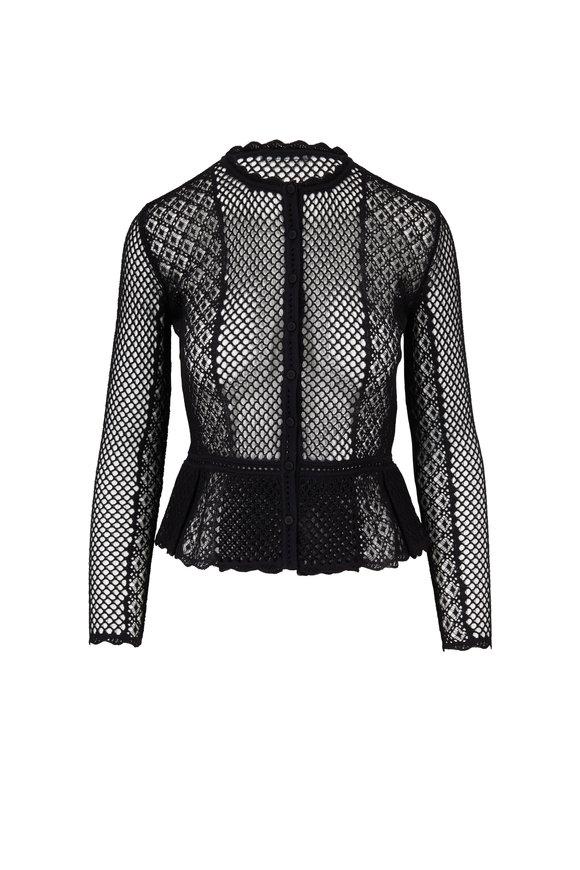 Alexander McQueen Black Cotton & Silk Mesh Button Front Top