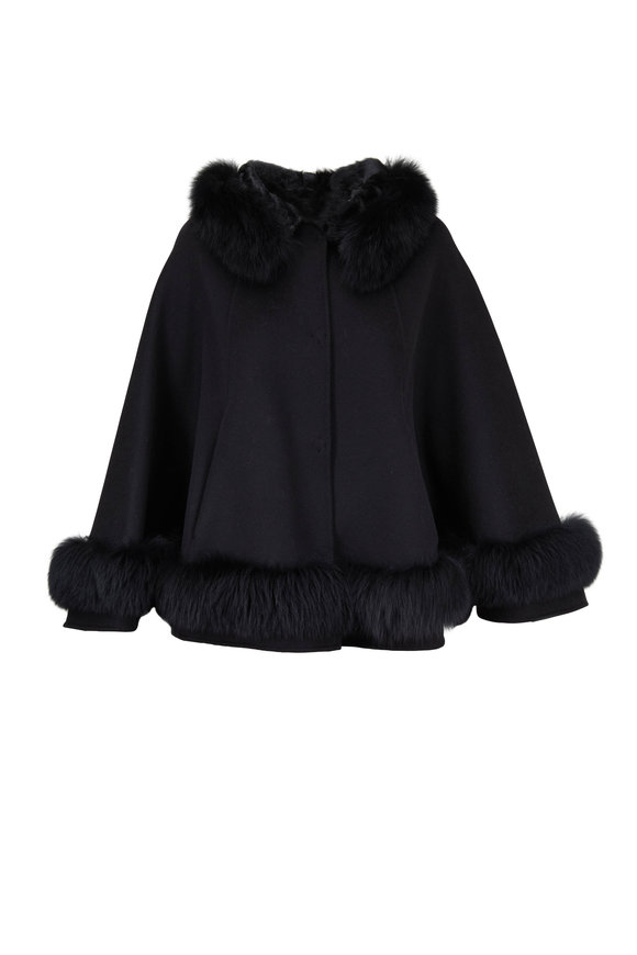 Viktoria Stass Black Cashmere & Wool Fox Trim Cape
