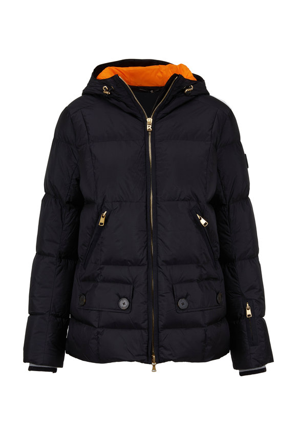 Bogner Miri Black & Orange Short Puffer Coat