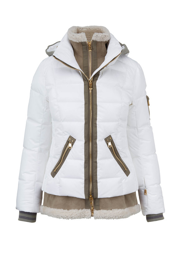 Bogner Eyla White & Suede Shearling Dickey Down Coat