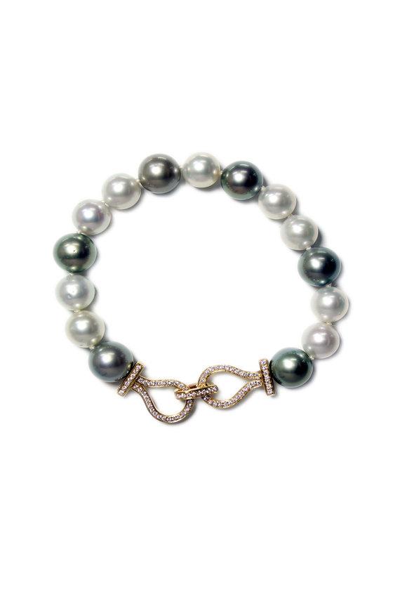 Belpearl Tahitian Pearl & White South Sea Pearl Bracelet