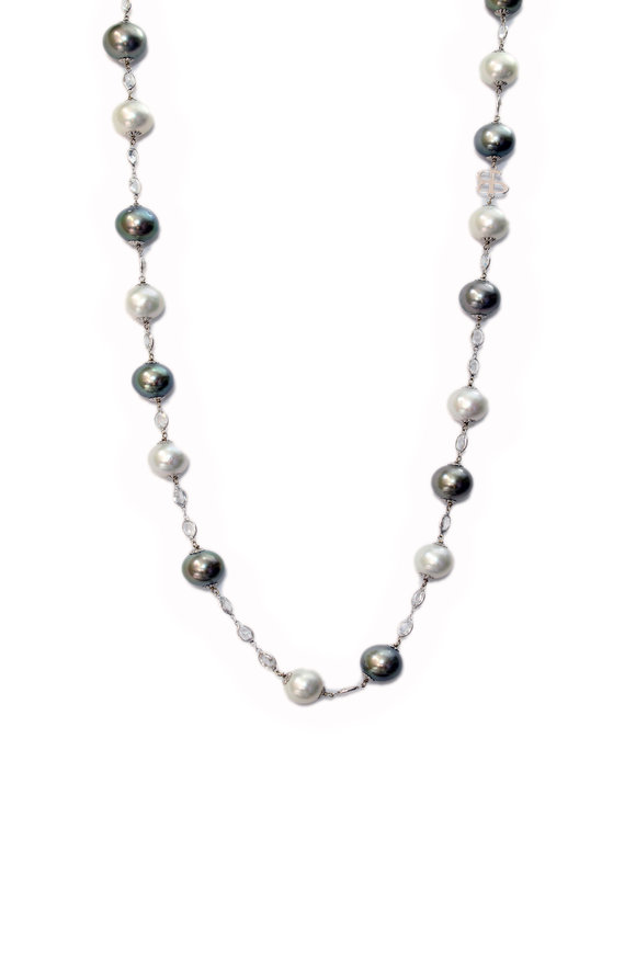 Belpearl 18K White Gold White & Tahitian Pearl Necklace