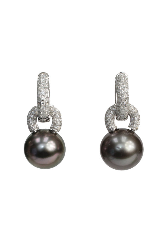 Belpearl 18K White Gold Tahitian Pearl & Diamond Earrings