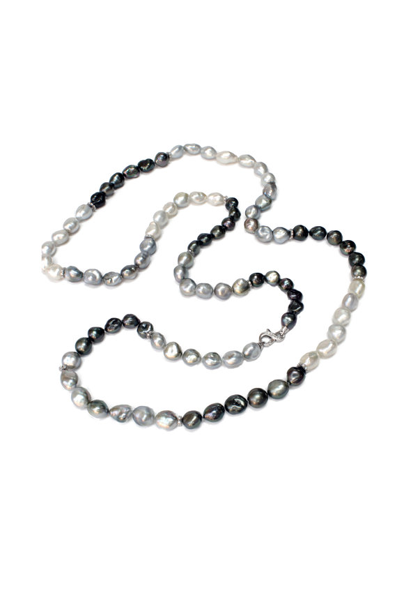 """Belpearl 18K White Gold Tahitian Pearl Necklace, 40"""""""