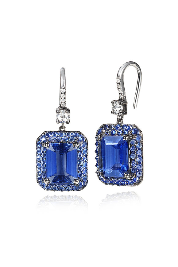Nam Cho 18K White Gold Kyanite & Sapphire Drop Earrings