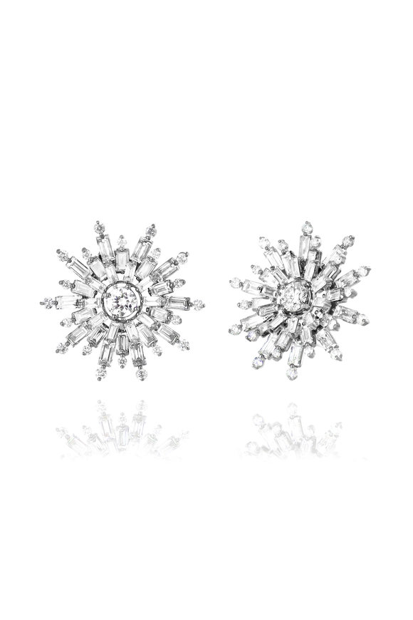 Nam Cho 18K White Gold Small Flower Diamond Earrings
