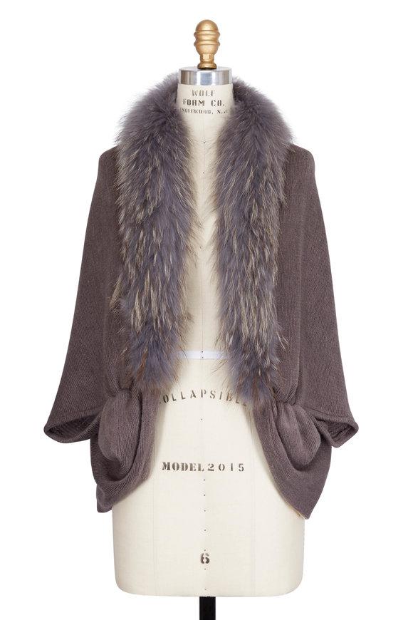 Viktoria Stass Kendal Grey Fur Trim Knit Cape