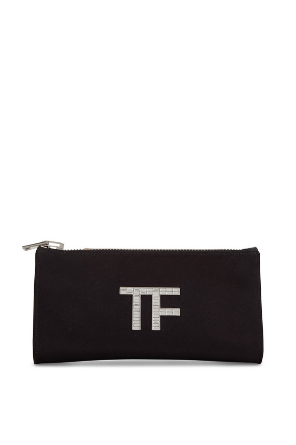 Tom Ford Black Satin Crystal TF Clutch
