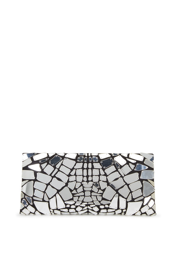 Tom Ford Silver & Black Mirror Embroidered Clutch