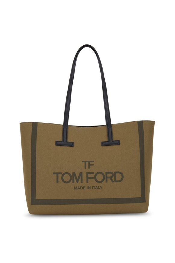 Tom Ford Military Green Canvas Small T Tote
