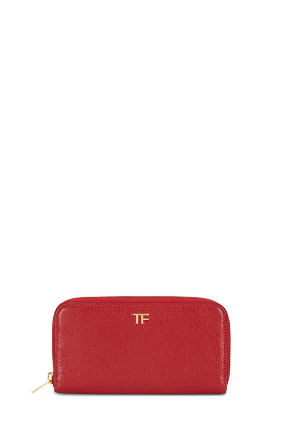 Tom Ford Dark Red Grained Leather Zip-Around Wallet