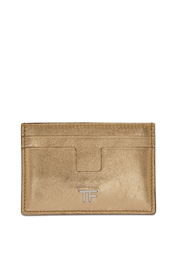 Tom Ford Metallic Gold Leather Small Slim Card Case