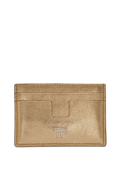 Tom Ford - Metallic Gold Leather Small Slim Card Case