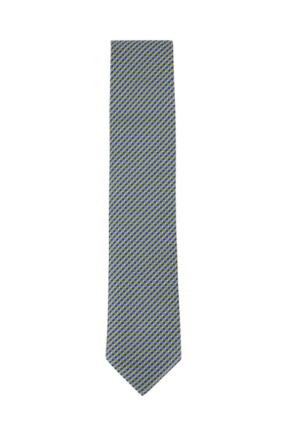 Brioni Royal Blue & Yellow Patterned Silk & Linen Necktie