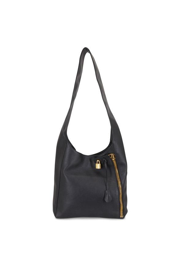 Tom Ford Alix Black Leather Large Hobo Crossbody Bag