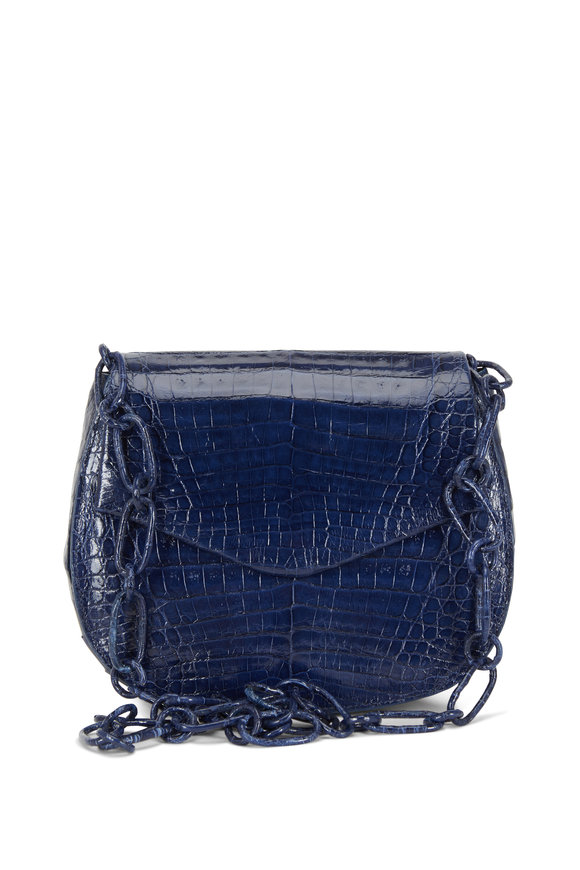 Nancy Gonzalez Navy Blue Crocodile Chain Convertible Bag