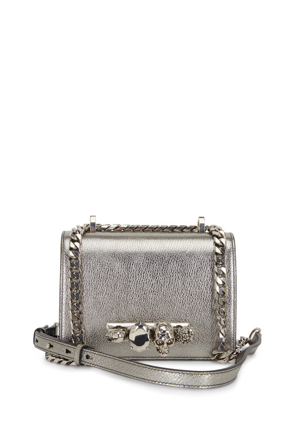 Alexander McQueen Gunmetal Metallic Leather Jeweled Knuckle Bag
