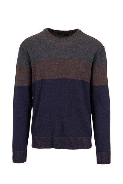 Raffi - Brown & Navy Colorblock Crewneck Pullover