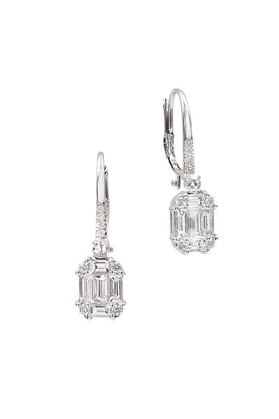 Nam Cho - 18K White Gold Invisible Diamond Earrings