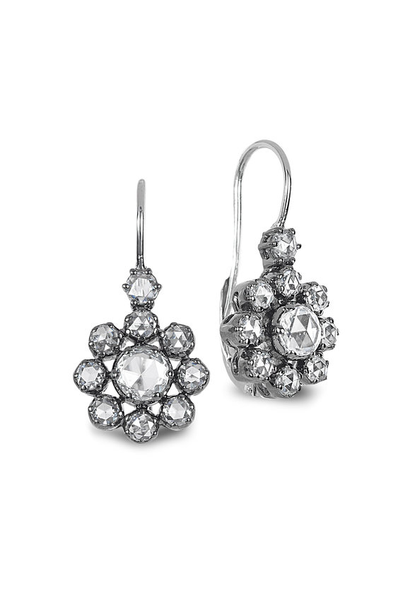 Nam Cho 18K White Gold Flower Diamond Drop Earrings