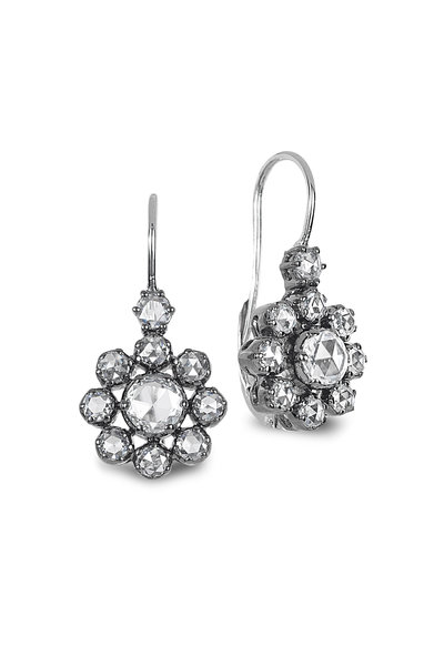 Nam Cho - 18K White Gold Flower Diamond Drop Earrings