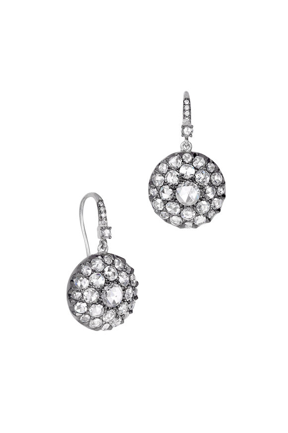 Nam Cho 18K White Gold Wire Diamond Earrings