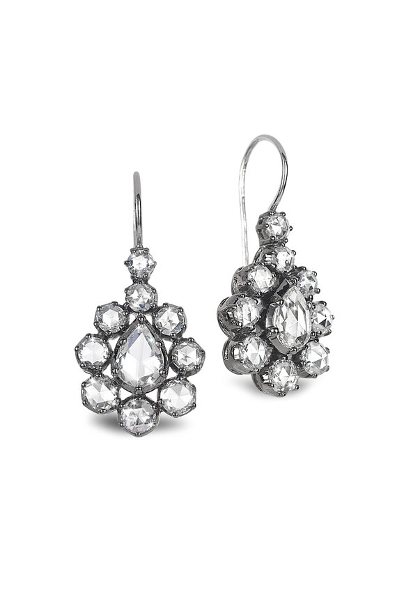 Nam Cho 18K White Gold Teardrop Rose Cut Diamond Earrings