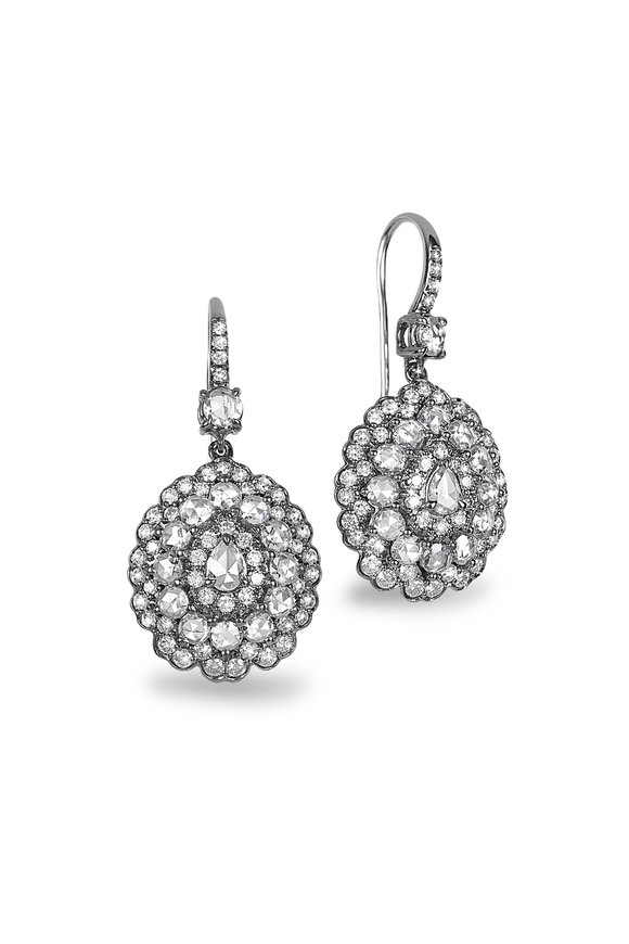 Nam Cho 18K White Gold Rose Cut Diamond Drop Earrings