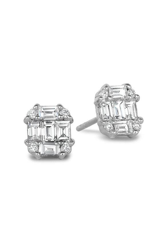 Nam Cho 18K White Gold Invisible Rectangle Diamond Studs