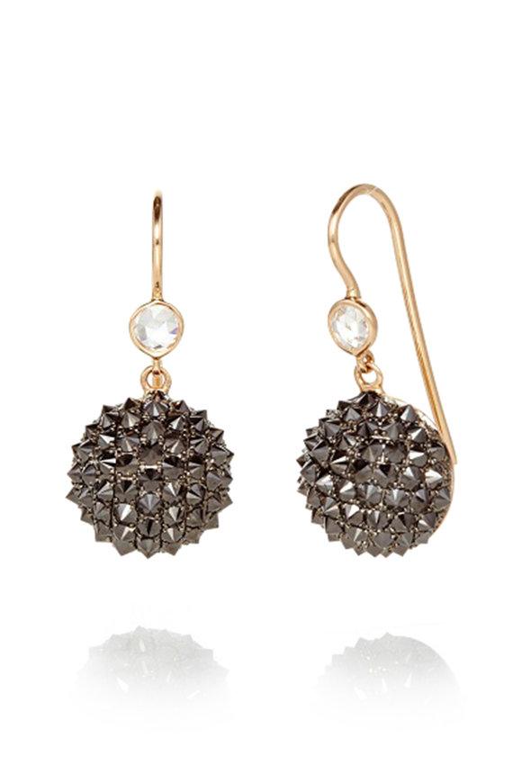 Nam Cho 18K Rose Gold Half Ball Black Diamond Earrings