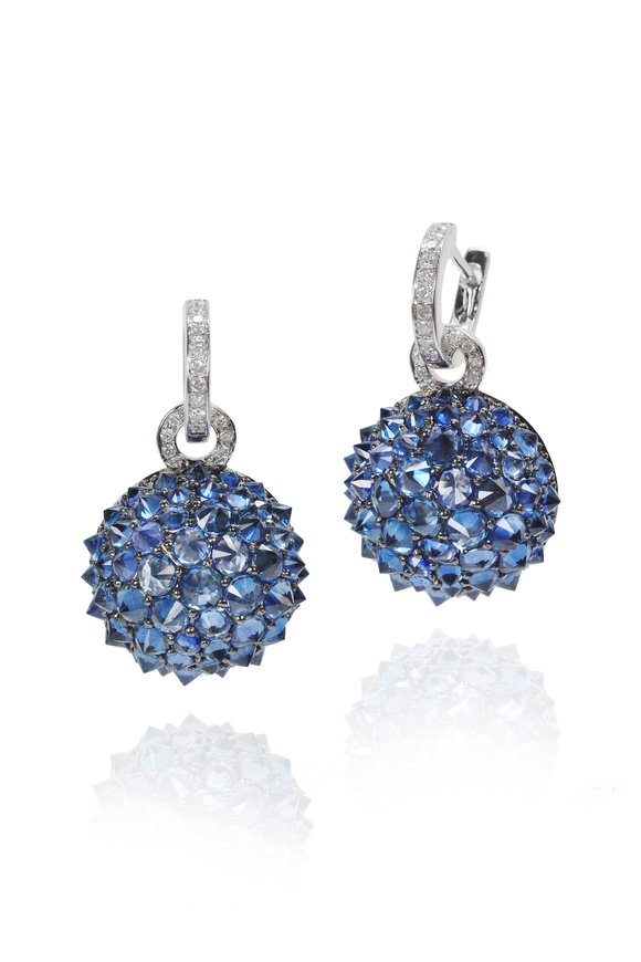 Nam Cho 18K White Gold Half Ball Sapphire Earrings
