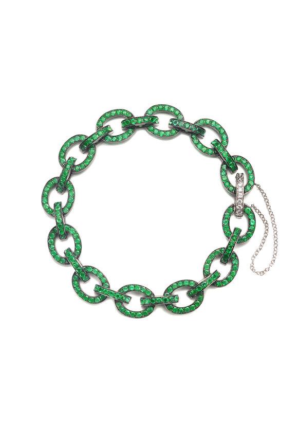 Nam Cho 18K White Gold Emerald Link Bracelet