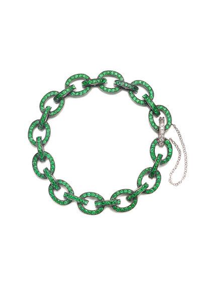 Nam Cho - 18K White Gold Emerald Link Bracelet