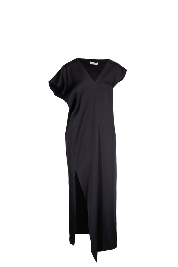 Rosetta Getty Black Satin Assymetric Caftan Dress