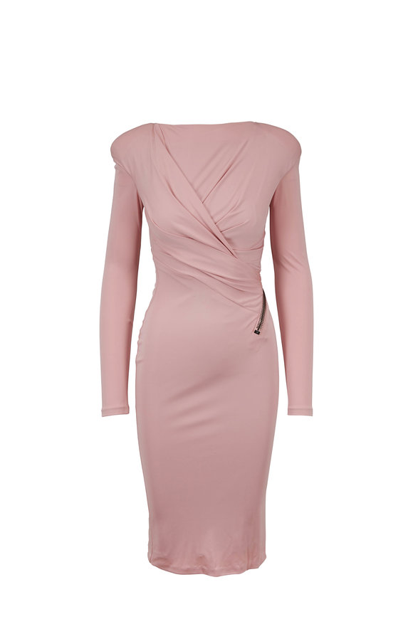Tom Ford Blush Stretch Exposed Zip Long Sleeve Dress